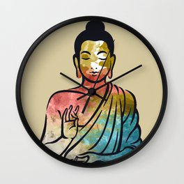 watercolor happy buddha  Wall Clock