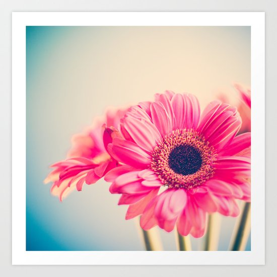 This Tornado Loves You, Pink Flower on Blue  Art Print