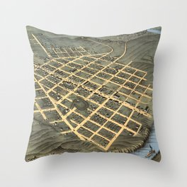 Vintage Pictorial Map of Chattanooga TN (1871) Throw Pillow