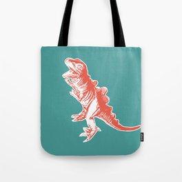 Dino Pop Art - T-Rex - Teal & Dark Orange Tote Bag
