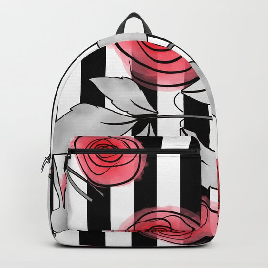 Red roses on black and white striped background. Backpack