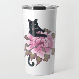 Black Cat on Flower Travel Mug