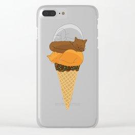 Cat Cream Cone Clear iPhone Case