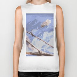 Dreamy Winter Mountain Scene Biker Tank