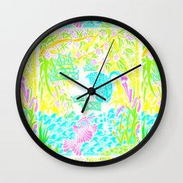 Asian Bamboo Garden in Pink Lemonade Watercolor Wall Clock