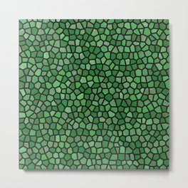 Jewel Tone Mosaic in Green Metal Print
