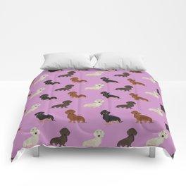 Doxie dachshund dachsie pattern print dog lover dog breed custom dog art by pet friendly Comforters