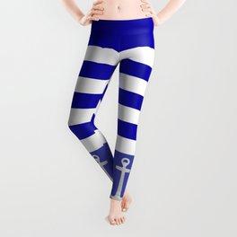 Blue And White Stripes Anchor Leggings