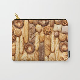 Bread baking rolls and croissants background Carry-All Pouch