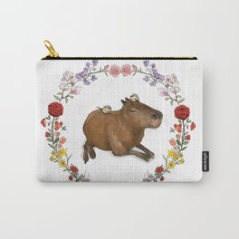Capybara in Flower Wreath Carry-All Pouch