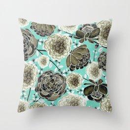Aqua Cabbage Roses Throw Pillow