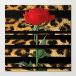 Leopard Print Black Stripes & Intertwining Rose Canvas Print