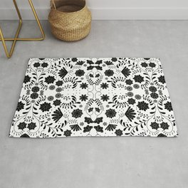 Black Mexican Flowers Rug