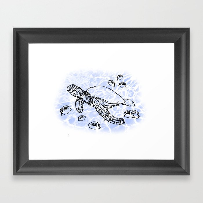 Sea Turtle with raccoon butterflyfish Framed Art Print