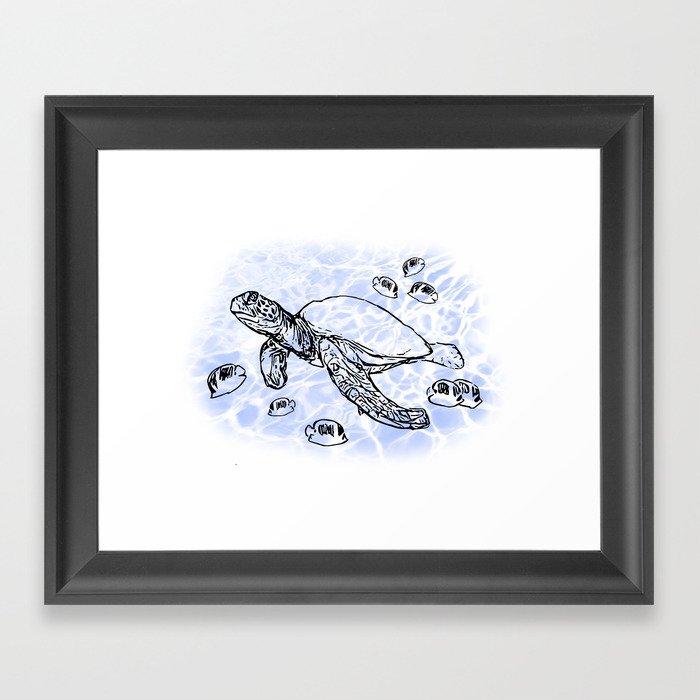 Sea Turtle with raccoon butterflyfish Framed Art Print