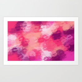 pink and purple kisses lipstick abstract background Art Print
