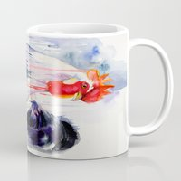 rooster Mugs featuring Rooster  by Slaveika Aladjova
