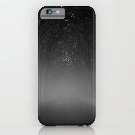 Avenue of trees in the fog white black iPhone & iPod Case