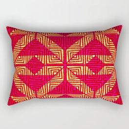 Aztec Hot Pink and Gold Rectangular Pillow