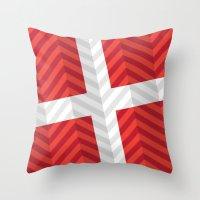denmark Throw Pillows featuring Denmark Flag by m. arief (mochawalk)