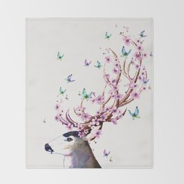 Deer and Flowers II Throw Blanket