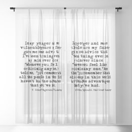 In my younger and more vulnerable years - F Scott Fitzgerald Sheer Curtain