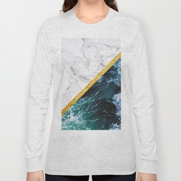 Wild Glamour - slicing marble, gold and ocean waves Long Sleeve T-shirt