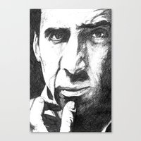 nicolas cage Canvas Prints featuring Nicolas Cage by DeMoose_Art