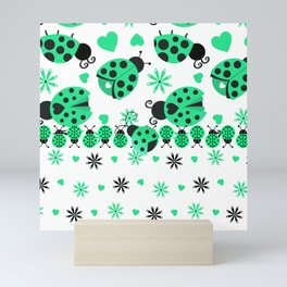 Cute Ladybugs green Mini Art Print