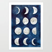 moon phases Art Prints featuring Moon phases by Bridget Davidson