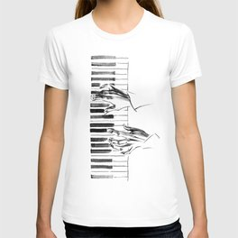 hands of a pianist playing music on the piano T-shirt