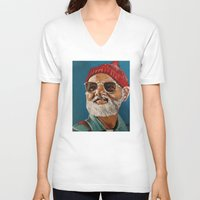 zissou V-neck T-shirts featuring Steve Zissou  by Kristin Frenzel