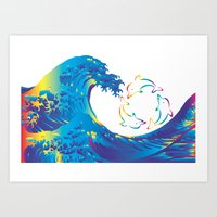 hokusai Art Prints featuring Hokusai Rainbow & rotating dolphins_D by FACTORIE