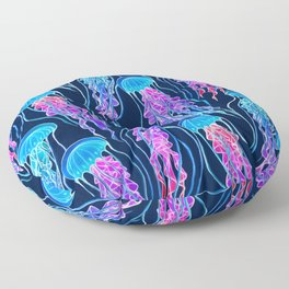 Luminescent Rainbow Jellyfish on Navy Blue Floor Pillow