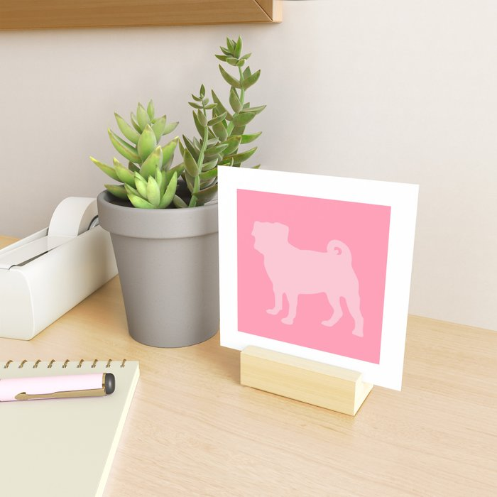 Pastel Pink Pugs Pattern Mini Art Print