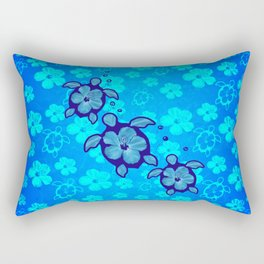3 Blue Honu Turtles Rectangular Pillow