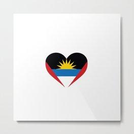 Antigua and Barbuda  love flag heart designs  Metal Print
