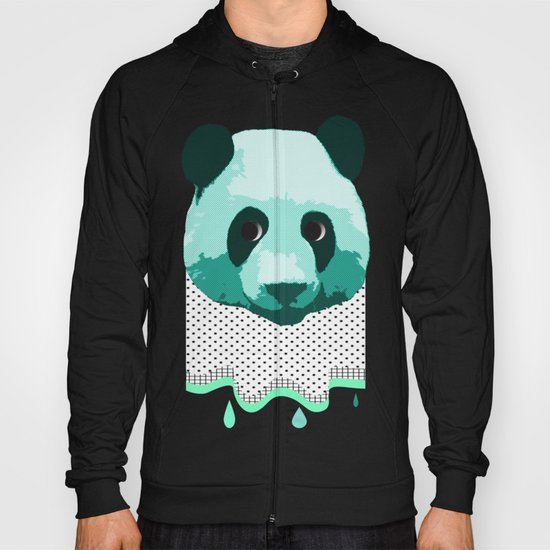 the blue panda who was melting black and white Hoody