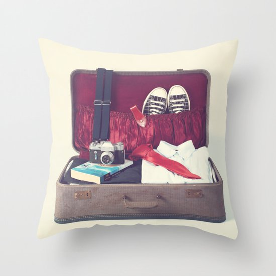 Vintage Journey Suitcase (His) (Retro and Vintage Still Life Photography) Throw Pillow