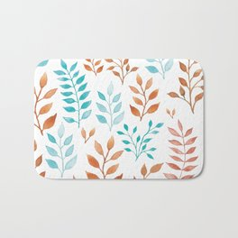 Watercolor twigs in turqoise and hazel colors Bath Mat