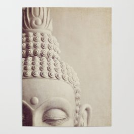 Cropped Buddha head statue. Poster