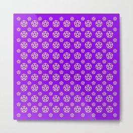 Violet White Pentacle Pattern Metal Print