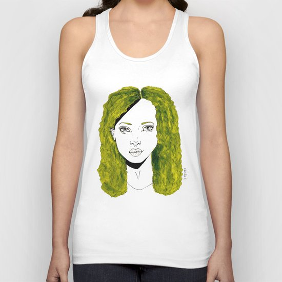GIRL WITH CURLY KAKI HAIR  Unisex Tank Top