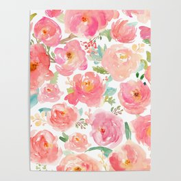 Pink Peonies Watercolor Pattern Poster