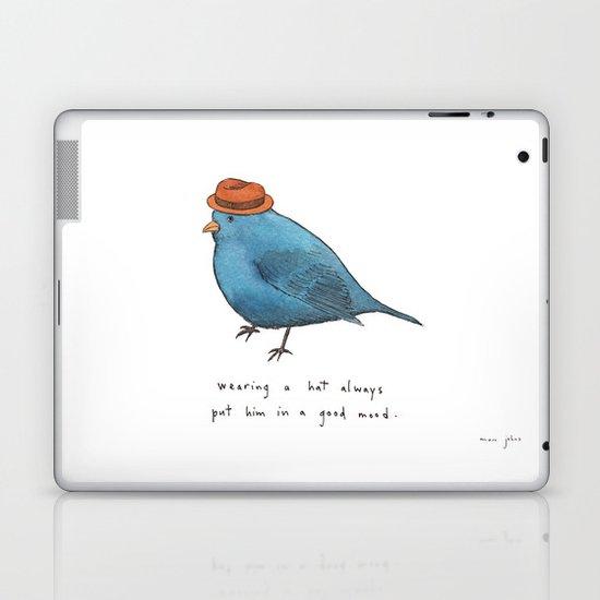 wearing a hat always put him in a good mood Laptop & iPad Skin