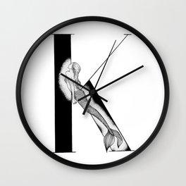 Mermaid Alphabet - K Wall Clock