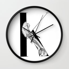 Mermaid Alphabet - K Wall Clock