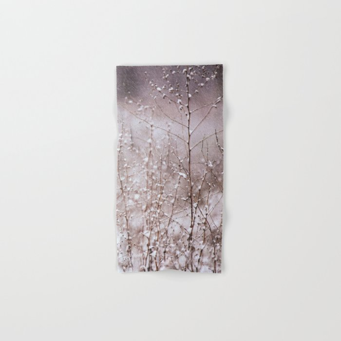 Snowy branches in the rain Hand & Bath Towel