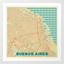 Buenos Aires Map Retro Art Print