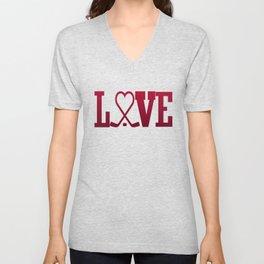 LOVE HOCKEY Unisex V-Neck